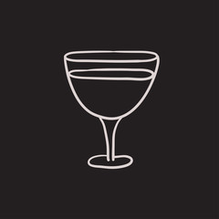 Glass of wine sketch icon.