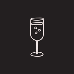 Glass of champagne sketch icon.