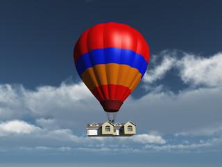 Globo aerostático transportando una casa