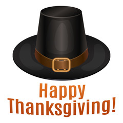 Happy Thanksgiving card, poster, background with piligrim hat.