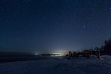 Idyllic Shot Of Snow Covered Landscape Against Sky At Night