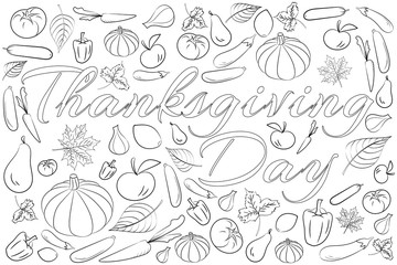 Zentangle stylized background for Thanksgiving day, Freehand sketch for adult coloring page with doodle elements. Artistic vector illustration for t-shirt print