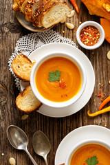 Pumpkin soup, top view