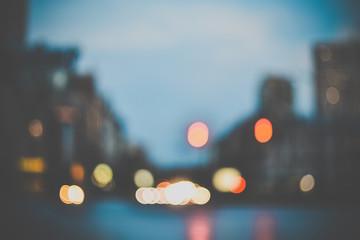 Blurred evening city street lights background