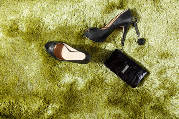 Woman accessories on the carpet