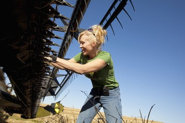 A Woman Works On A Combine In A Wheat Field, Three Hills, Alberta, Canada