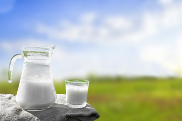 Glass jug with milk and a glass on the grass against a backdrop of picturesque green meadows with flowers at clear sunny summer day. Fresh organic milk. Nature background. Beautiful blue sky.