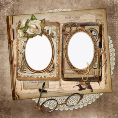 Frames for photos, old letters, documents, vintage ornaments on an old, shabby vintage background