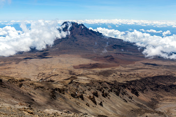 View of Mawenzi Peak from Mount Kilimanjaro, the highest mountain in Africa
