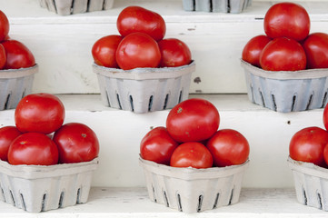 Bright red tomatoes stacked in boxes, Denton, Maryland, United States of America