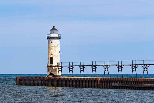 The Lighthouse at Manistee, Michigan on Lake Michigan