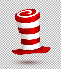 Red and white colors stripes realistic vector carnival hat