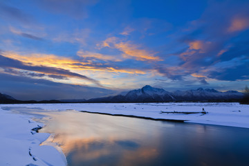 Winter scenic of Pioneer Peak and Matanuska River, Mat-Su Valley, Southcentral Alaska, Winter, HDR