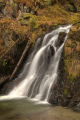 Blurred Motion Of Salmon Creek Falls Near Juneau, Southeast Alaska, Autumn. Hdr