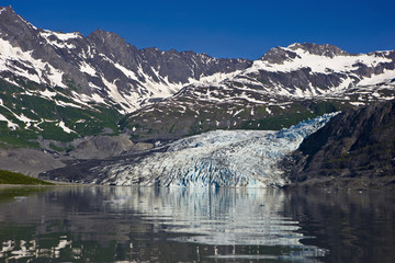 Shoup Glacier Reflected In The Waters Of Shoup Bay, Prince William Sound, Southcentral Alaska, Summer