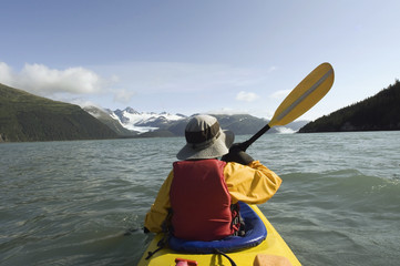 Person Sea Kayaking In Prince William Sound, Near Whittier, Southcentral, Alaska