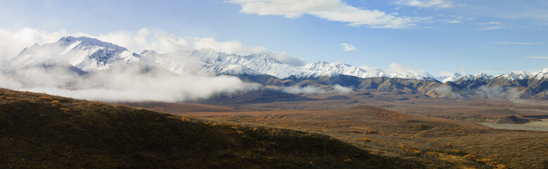 Scenic Panorama View Of Polychrome Pass Basin In The Fall With The Alaska Range In The Background, Denali National Park, Interior, Alaska