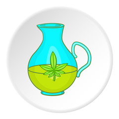 Pitcher of marijuana icon in cartoon style on white circle background. Drug symbol vector illustration