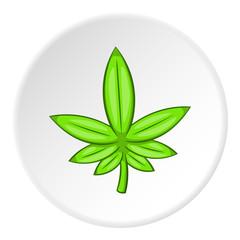 Marijuana icon in cartoon style on white circle background. Drug symbol vector illustration