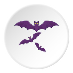 Bats icon in cartoon style on white circle background. Fly symbol vector illustration