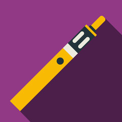 Electronic cigarette with button icon in flat style with long shadow. Smoking symbol vector illustration