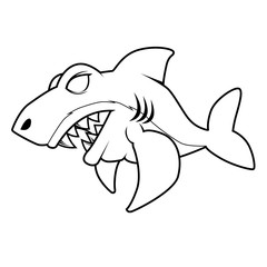 Angry Shark - Line Art