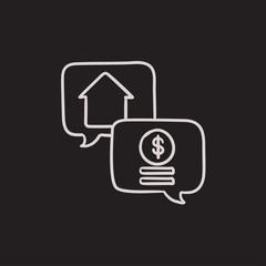 Real estate transaction sketch icon.