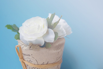 Pastel Artificial white Rose Wedding Bridal Bouquet in flower po
