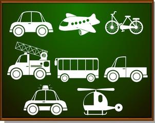 Transportations silhouette on blackboard