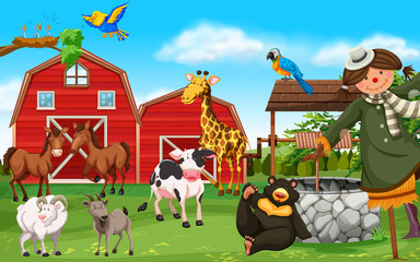 Wild animals and farm animals in farmyard