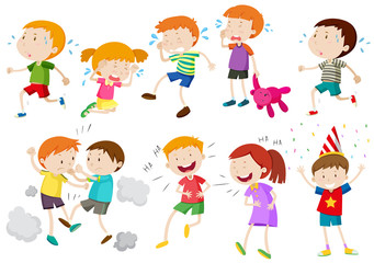 Set of children crying and fighting