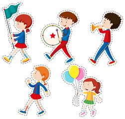 Sticker set with children walking