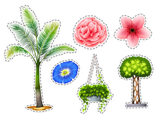 Sticker set with different kinds of plants