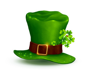 Realistic vector Leprechauns green hat on white background