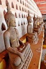 Seated Buddha image at cloister of Wat Sisaket.Vientiane.Laos