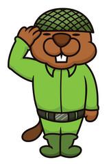 Beaver Soldier Salute Cartoon