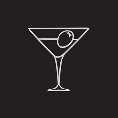 Cocktail glass sketch icon.