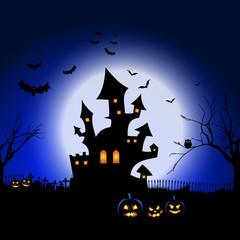 Fototapete - Halloween spooky landscape