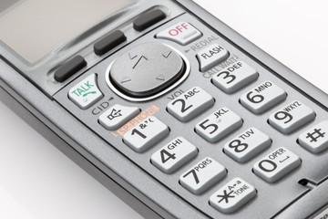 Close up of cordless phone keypad.