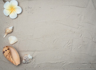 Summer vacation accessories on sandy ocean beach, Summertime Lifestyle objects flat lay top view