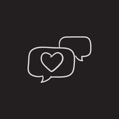 Heart in speech bubble sketch icon.