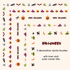 Halloween vector brushes with inner and outer corner tiles