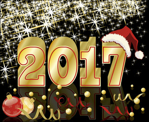 Happy New Year and Merry Christmas 2017 greeting card, vector illustration