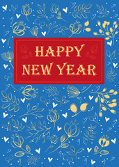 Happy New Year. Floral greeting card.