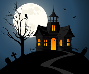 Vector illustration of a spooky house on a dark hill against a nighttime sky background.