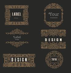 Vector logo design template,  floral frame, line art style, embl