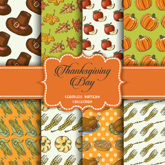Collection of seamless patterns for the Thanksgiving Day