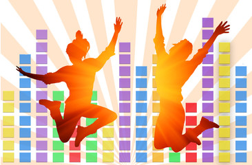 colorful musical equalizer and silhouette girl jumping