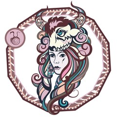 Zodiac signs Taurus. Vector illustration of the girl