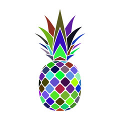 Pineapple mosaic icon. Tropical fruit isolated on white background. Symbol of food, sweet, exotic and summer, vitamin, healthy. Nature logo. Flat concept. Design element Vector illustration